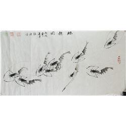 ZHANG DEHONG Chinese Ink Shrimp on Paper
