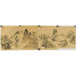 LUO PUFU Four Chinese WC Landscape Painting