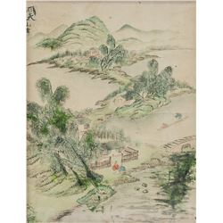 Chinese Watercolor on Paper Secluded Landscape