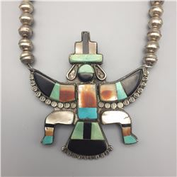 Great Zuni Inlay Knifewing Necklace