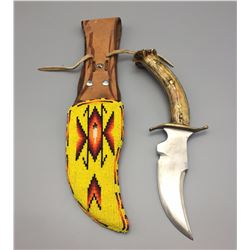 Handmade Apache Beaded Knife Sheath with Knife