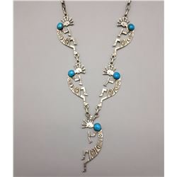 Turquoise and Sterling Kokopelli Necklace