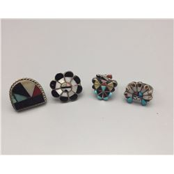 Group of 4 Zuni Inlay Rings