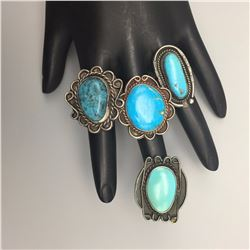 Group of 4 Turquoise Rings