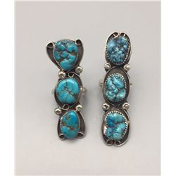 Pair of Long Turquoise Rings