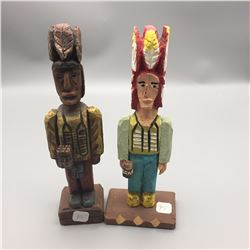 Pair of Miniature Cigar Store Wooden Indians