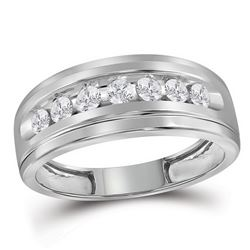 0.48 CTW Mens Diamond Wedding Ring 10KT White Gold - REF-37F5N