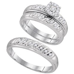 0.30 CTW His & Hers Diamond Cluster Matching Bridal Ring 10KT White Gold - REF-41W9K
