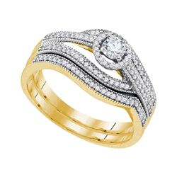0.38 CTW Diamond Halo Bridal Engagement Ring 10KT Yellow Gold - REF-57N2F