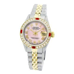 Rolex Pre-owned 26mm Womens Custom Pink Mother of Pearl Two Tone - REF-520W2Y