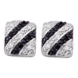 0.25 CTW Black Color Diamond Stud Screwback Earrings 10KT White Gold - REF-30M2H