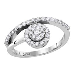 0.50 CTW Diamond Cluster Ring 10KT White Gold - REF-37N5F