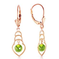 Genuine 1.25 ctw Peridot Earrings Jewelry 14KT Rose Gold - REF-25P6H