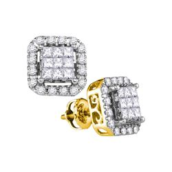 1 CTW Princess Diamond Square Cluster Stud Earrings 14KT Yellow Gold - REF-101N9F