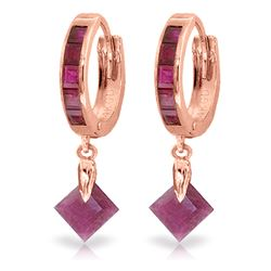Genuine 3.7 ctw Ruby Earrings Jewelry 14KT Rose Gold - REF-60W3Y