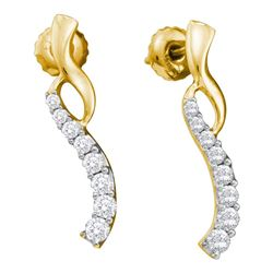0.50 CTW Diamond Graduated Journey Screwback Earrings 14KT Yellow Gold - REF-44F9N