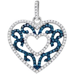 0.50 CTW Blue Color Diamond Antique-style Heart Pendant 10KT White Gold - REF-28F4N