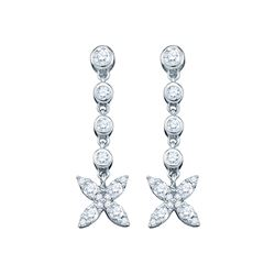 0.75 CTW Diamond Flower Cluster Dangle Earrings 10KT White Gold - REF-44X9Y