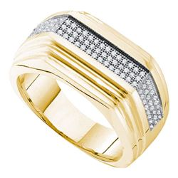 0.30 CTW Mens Pave-set Diamond Ridged Flat Ring 10KT Yellow Gold - REF-63K2W