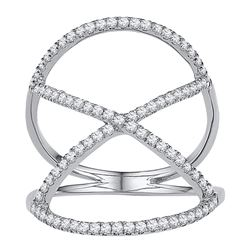 0.40 CTW Diamond Crisscross Crossover Ring 10KT White Gold - REF-25H4M