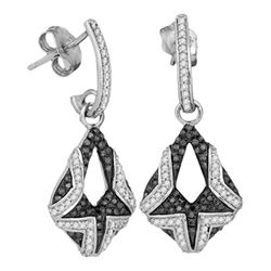 0.50 CTW Black Color Diamond Dangle Earrings 10KT White Gold - REF-52M4H