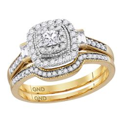 0.51 CTW Princess Diamond Bridal Engagement Ring 14KT Yellow Gold - REF-79K4W
