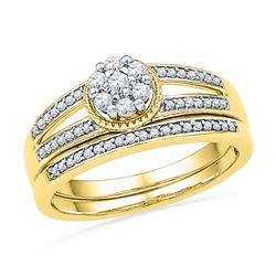 0.26 CTW Diamond Cluster Bridal Engagement Ring 10KT Yellow Gold - REF-32N9F