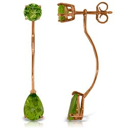 Genuine 4.2 ctw Peridot Earrings Jewelry 14KT Rose Gold - REF-32Z2N