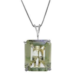 Genuine 6.5 ctw Green Amethyst Necklace Jewelry 14KT White Gold - REF-35P2H