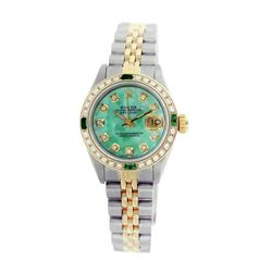 Rolex Pre-owned 26mm Womens Custom Green MOP Two Tone - REF-530K4X