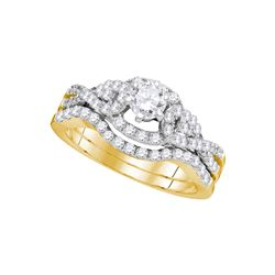 1 CTW Diamond Woven Bridal Wedding Engagement Ring 14k Yellow Gold - REF-142H4M