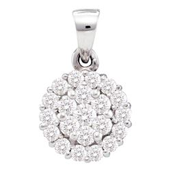 0.50 CTW Diamond Circle Flower Cluster Pendant 14KT White Gold - REF-37Y5X