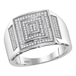 0.35 CTW Mens Pave-set Diamond Square Cluster Ring 10KT White Gold - REF-59F9N