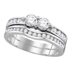 0.97 CTW Diamond 2-Stone Hearts Together Bridal Ring 14KT White Gold - REF-112N5F