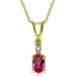 Genuine 0.46 ctw Pink Topaz & Diamond Necklace Jewelry 14KT Yellow Gold - REF-21Y6F
