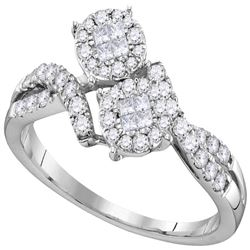 0.50 CTW Princess Diamond Soleil Cluster Bypass Bridal Ring 14KT White Gold - REF-59M9H