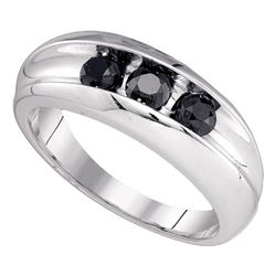 0.95 CTW Mens Black Color Diamond Wedding Ring 10KT White Gold - REF-34H4M