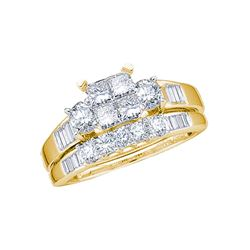 1 CTW Princess Diamond Bridal Engagement Ring 10KT Yellow Gold - REF-75M2H