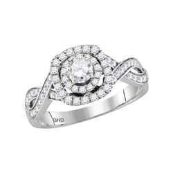 0.87 CTW Diamond Solitaire Bridal Engagement Ring 14KT White Gold - REF-104Y9X