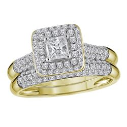 1.03 CTW Princess Diamond Halo Bridal Engagement Ring 10KT Yellow Gold - REF-89Y9X