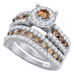 1.72 CTW Cognac-brown Color Diamond Bridal Ring 10KT White Gold - REF-67N4F