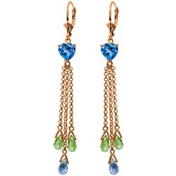 Genuine 9.5 ctw Blue Topaz & Peridot Earrings Jewelry 14KT Rose Gold - REF-62W2Y