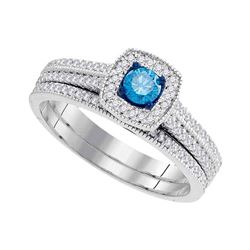 0.50 CTW Blue Color Diamond Bridal Wedding Engagement Ring 10KT White Gold - REF-44H9M