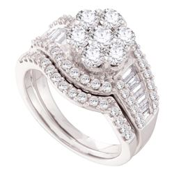 2 CTW Diamond Cluster Bridal Engagement Ring 14KT White Gold - REF-224H9M