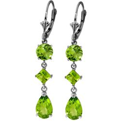 Genuine 6.3 ctw Peridot Earrings Jewelry 14KT White Gold - REF-52R2P