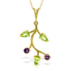 Genuine 0.95 ctw Peridot & Amethyst Necklace Jewelry 14KT Yellow Gold - REF-32R2P