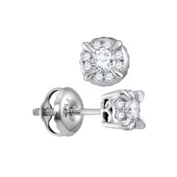 0.25 CTW Diamond Solitaire Screwback Stud Earrings 14KT White Gold - REF-30K2W