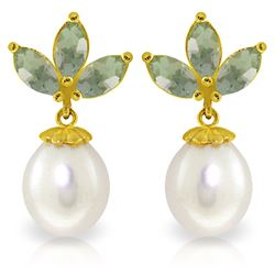 Genuine 9.5 ctw Green Amethyst & Pearl Earrings Jewelry 14KT Yellow Gold - REF-31M2T