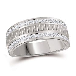 1 CTW Mens Channel-set Diamond Grecco Textured Double Row Ring 14KT White Gold - REF-132M2H