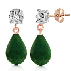 Genuine 17.66 ctw Green Sapphire Corundum & Diamond Earrings Jewelry 14KT Rose Gold - REF-37R4P